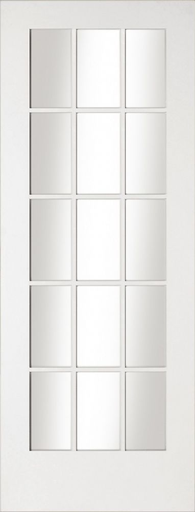 The Shaker 15 Light White Primed Clear Glazed door offers a clean and minimal contemporary design and with a large glazing area it will allow light