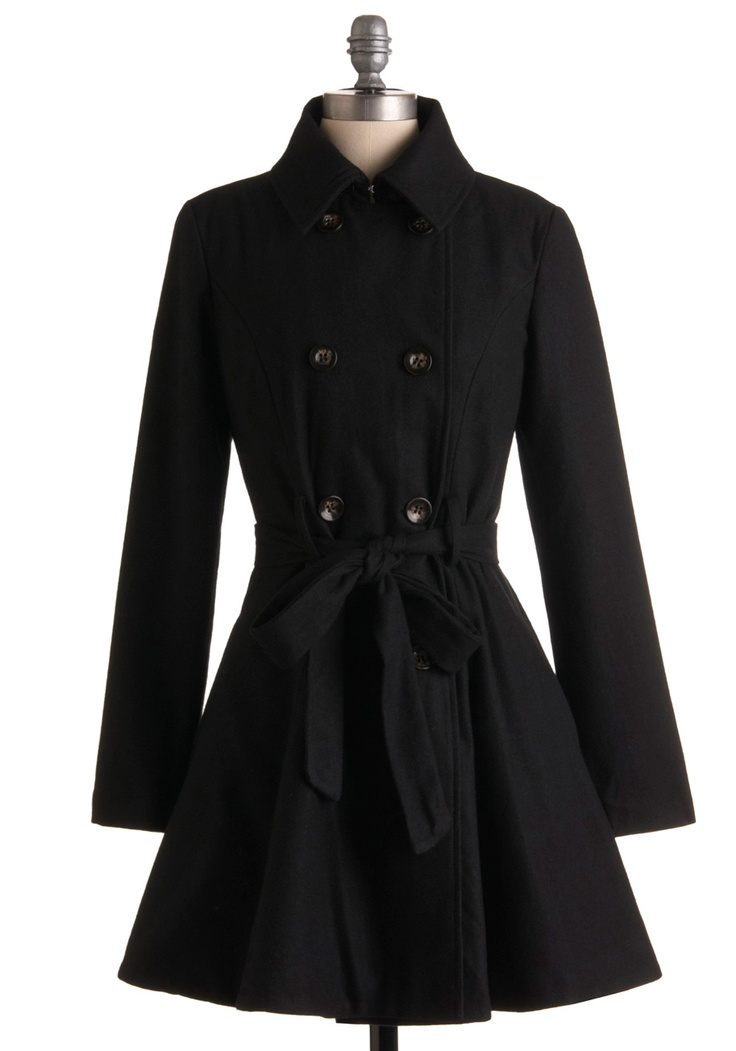 My favorite coat is a black classic A-line flare trench like this :) Goes well with anything and makes me feel all princessy: Dreams Closet, Clothing, Mod Retro, Vintage Coats, Trench Coats, Winter Coats, Modcloth Com, Retro Vintage, Night Coats