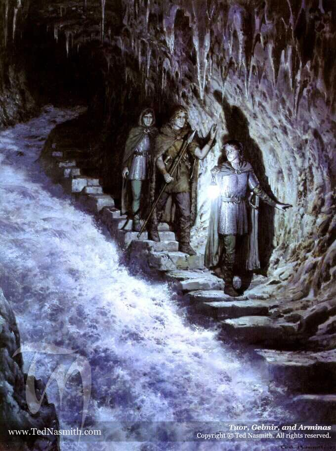 Tuor, Gelmir,and Arminas Descending Hidden way towards Nevrast...(This is a scene from Tolkien'sUnfinished Tales.) First appeared in the 2000 Tolkien Calendar, published by HarperCollins. (It was the painting for March.)