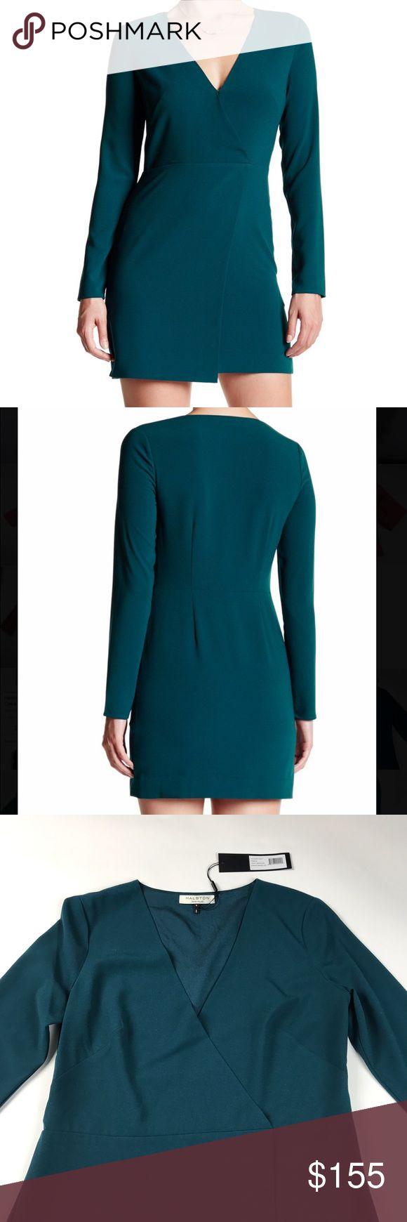 Halston Heritage Long Sleeve V-Neck Crepe Dress Color: Spruce (Teal). 90% polyester 10% elastane. Side zipper Halston Heritage Dresses Long Sleeve