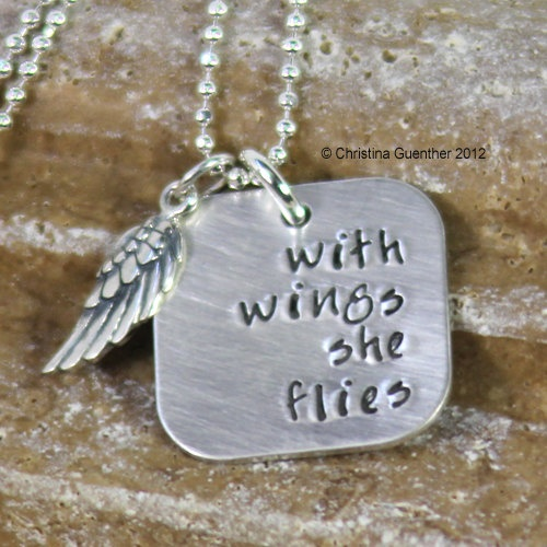 with wings she flies - - sterling silver hand stamped necklace. $74.00, via Etsy.