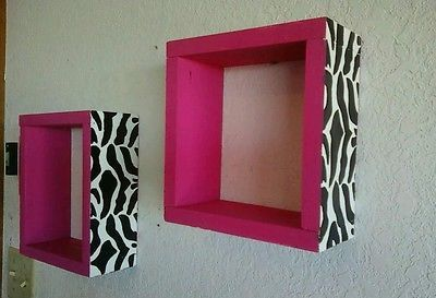 Hot pink and zebra wall shelves