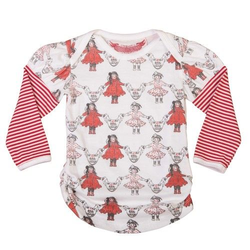 'i love my little wings' is the message from lots of very sweet little girls on this puff sleeve teewith an envelope neck, gathered sides and scooped hemlinemade from 100% organic cotton by little wings $39.95