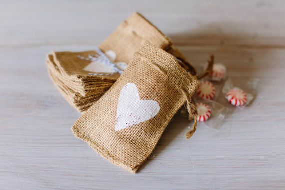 BURLAP FAVOR BAGS with Heart // Pack of 10