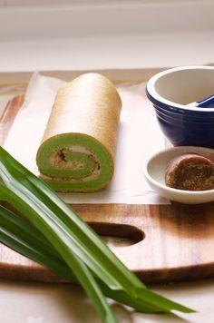 Pandan swiss roll with gula melaka chantilly cream