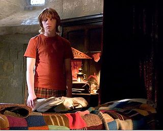 Just added - Free Knitting pattern for The Ron Weasley Blanket by Jackie Wierzbicki. Jackie did amazing research and design by reviewing all the images she could find of the blanket on Ron's bed at Gryffindor.