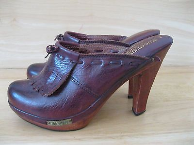Women's SWEET STEPS Burgundy Leather High Heel Clog Shoes Size 7M  | eBay