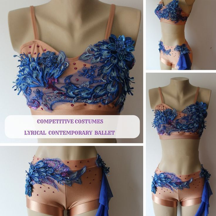 Absolutely beautiful nude with royal blue accent appliqus and fuchsia crystals two piece solo costume for lyrical or contemporary dance. Unique one of a kind piece of art.