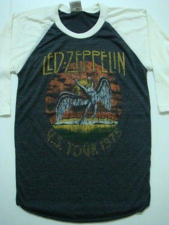 led zeppelin retro us tour 1975 jersey 3/4 t-shirt women size s. $15.99, via Etsy.