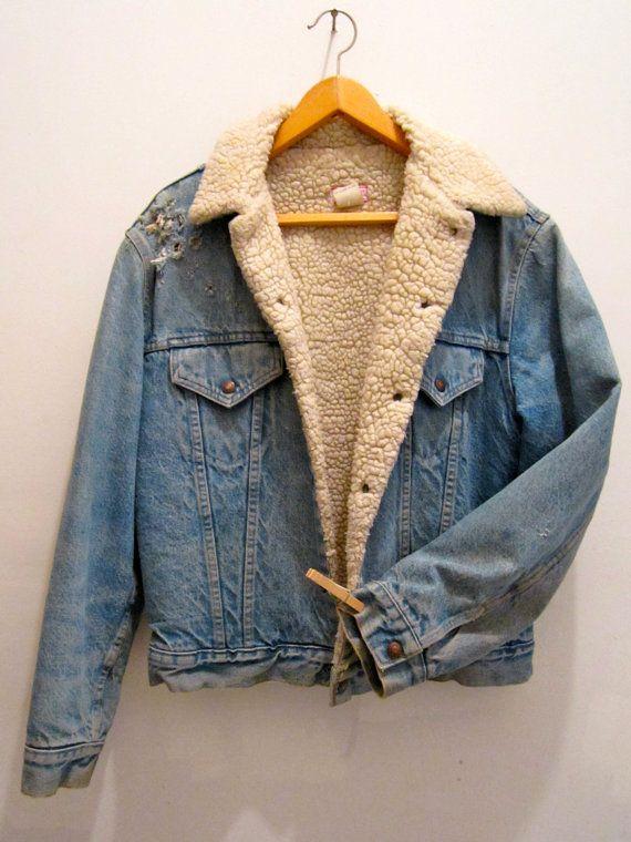 Vintage Levis Sherpa Fleece Lined Denim Jacket Lined