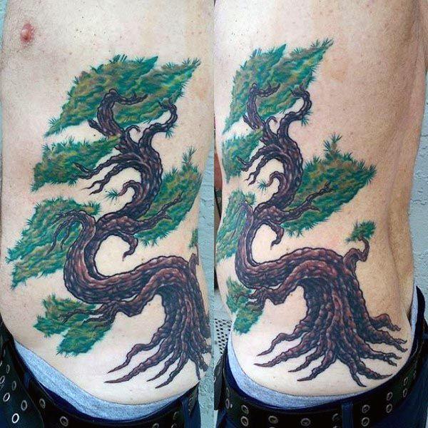 Cool Rib Cage Side Bonsai Tree Male Tattoos
