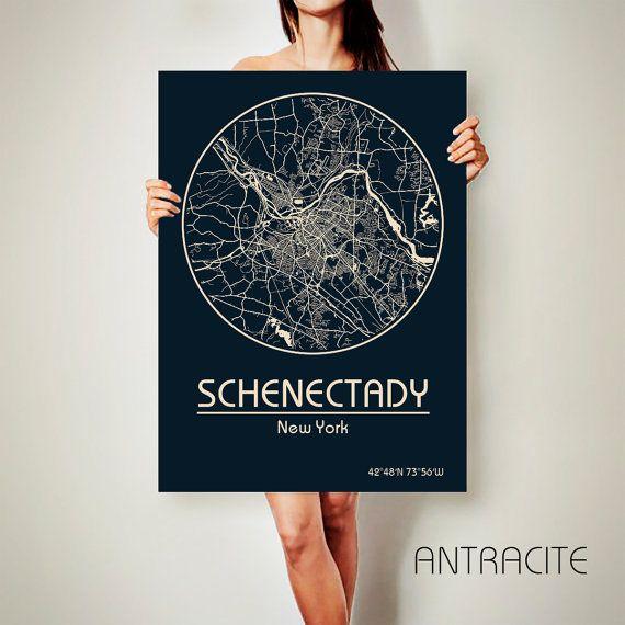 SCHENECTADY New York CANVAS Map Schenectady New York by ArchTravel