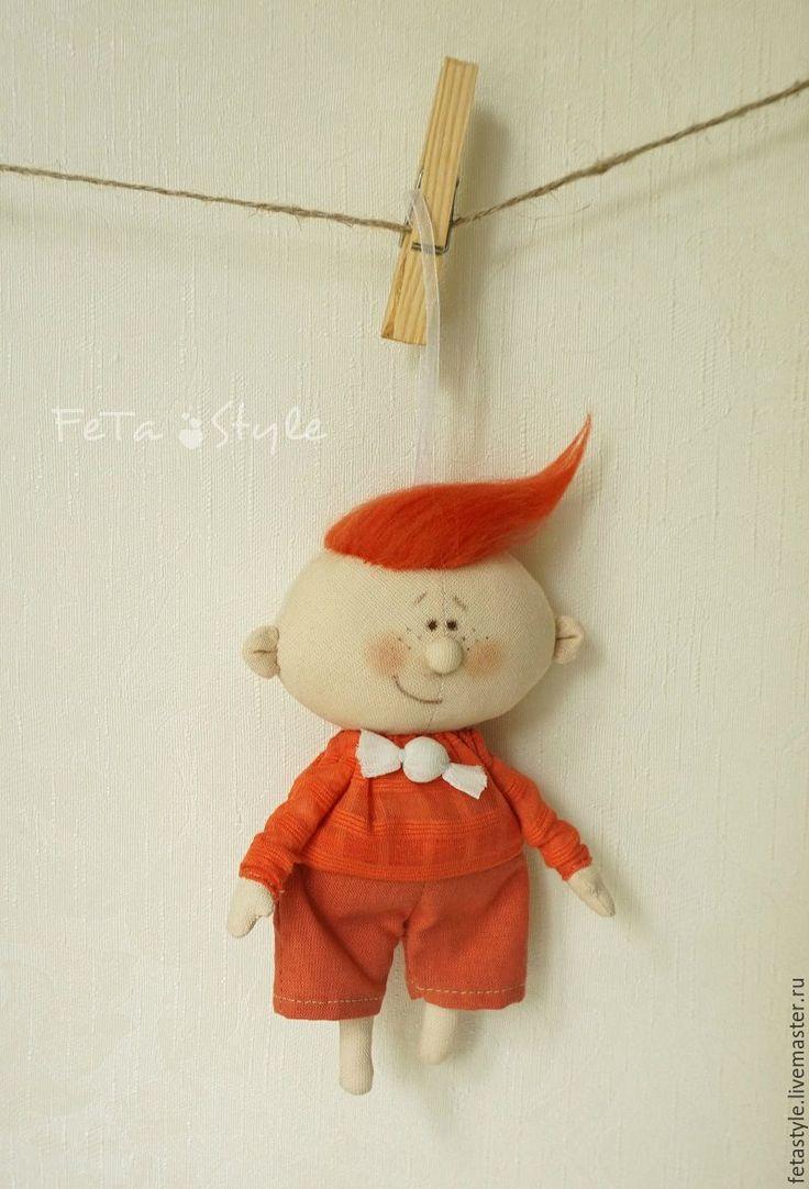 Купить Карамель-мальчик Апельсин Кукла-подвеска текстильная (резерв) - кукла малышка, маленькая кукла