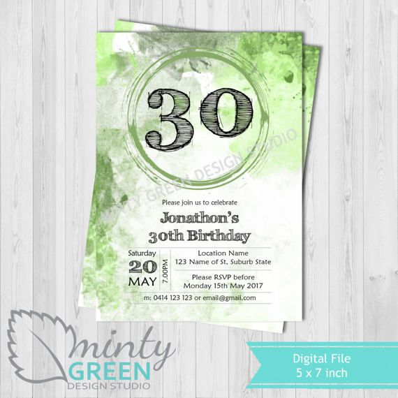 Hey, I found this really awesome Etsy listing at https://www.etsy.com/au/listing/504215838/birthday-invitation-green-watercolour