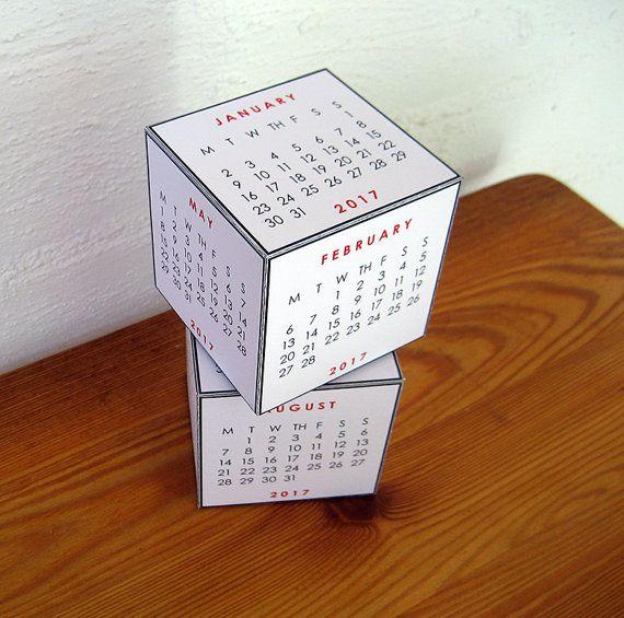 2017 Desk Calendar  Two Cubes  Printable PDF by paper4download