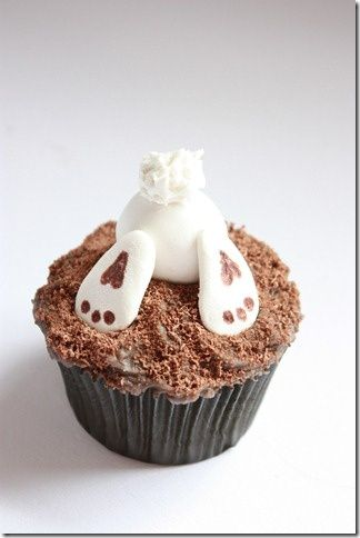 Easter bunny cup - great idea could used melted white chocolate instead of icing