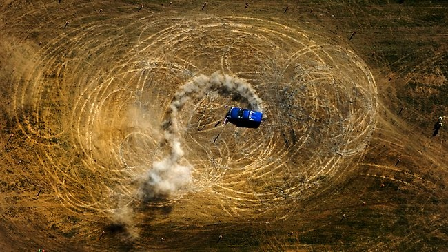 """""""Circle work"""" contestant Brad Smith gets his 2003 Holden Maloo sideways in #Deniliquin. Picture: Nick McGrath"""