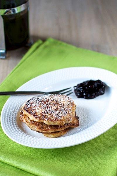 Danish 'klatkager' made from rice porridge. Served with blackberry jam