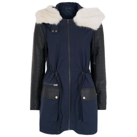 Buy French Connection Rhumba Escape Parka, Utility Blue/Black Online at johnlewis.com, size 6, £92.50