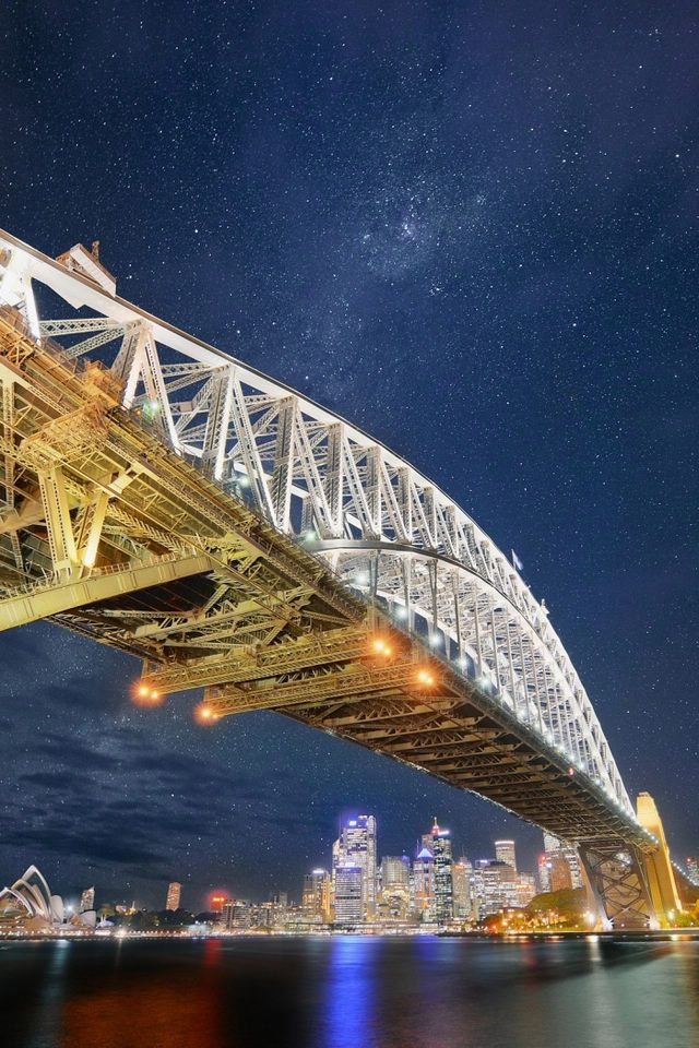 Sydney Harbour Bridge at Night. It is a really high bridge that you can climb!