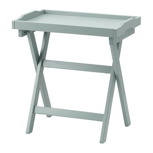 IKEA - MARYD, Tray table, green, , You can fold the table and put it away when it is not needed.You can use the removable tray for serving.The tray has an extra wide edge and high sides that prevent spills and make it easy to carry.