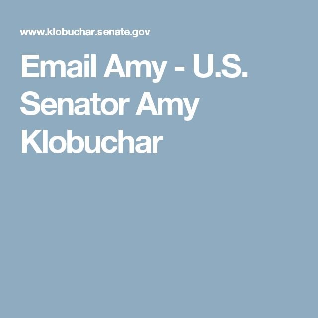 Email Amy - U.S. Senator Amy Klobuchar