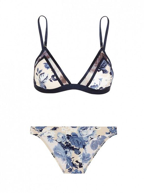 Sporty cut + feminine-floral print = coolest girl on the beach. // Hydra Mesh-Paneled Printed Triangle Bikini by Zimmerman