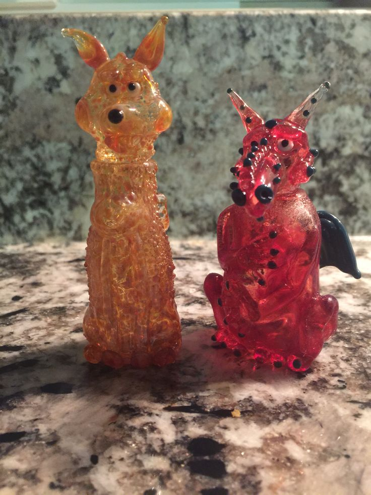 Fox and Dragon Bottles the heads are lids