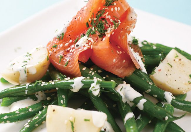 Smoked salmon, green beans and potato salad with sour cream. #Healthy recipes from Women's Health & Fitness