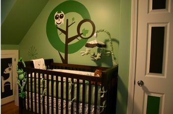 Green and Brown Owl Baby Nursery Theme in Natural Forest Colors: I am sharing my owl nursery theme pictures and many more photos and illustrations in hopes that those of you that are interested in unique graphics and