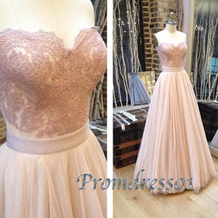 Prom dress 2016, pretty long prom dress for teens, pink lace tulle strapless evening dress