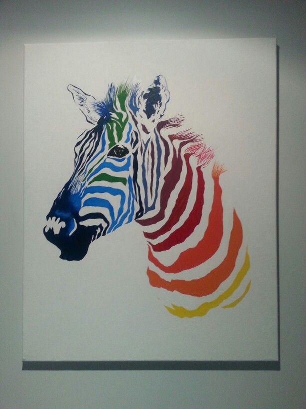 Rainbow Zebra. acrylic on canvas.