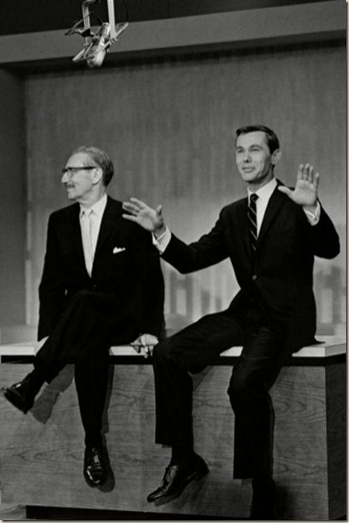 Groucho Marx introducing Johnny Carson the first night in 1962 that he was host of The Tonight Show