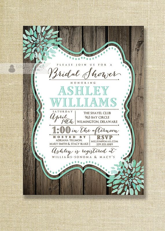 Aqua Teal Bloom Bridal Shower Invitation Rustic Wood Shabby Chic Distressed Mint Wedding Invite Printable Digital or Printed - Ashley Style on Etsy, $23.00