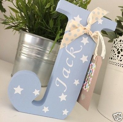 Personalised Freestanding Wooden Letters ~ Christening - New Baby Gift