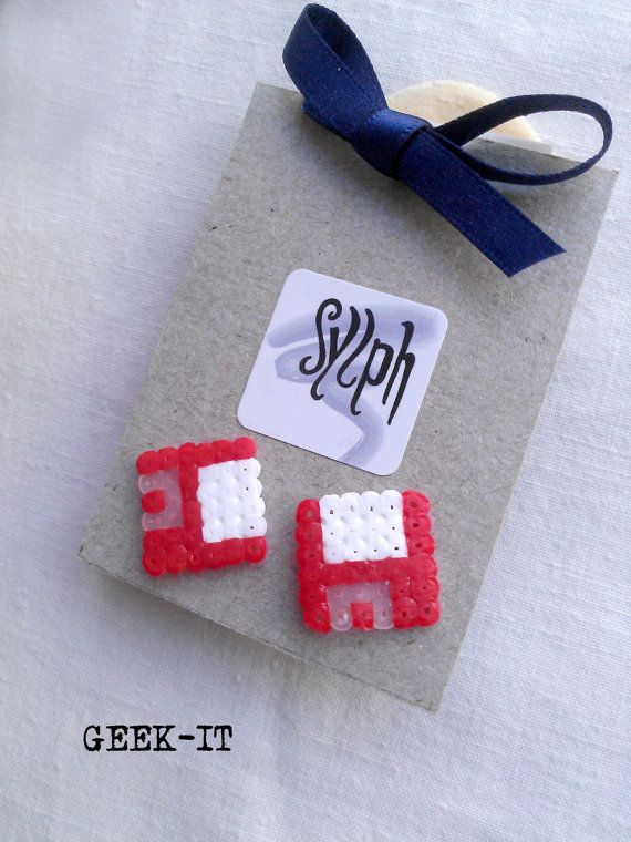 Earrings made of Hama Mini Beads Geek IT red by SylphDesigns, €3.00