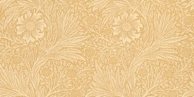 Marigold (210370) - Morris Wallpapers - True to its engraved roots, this delicately complex two colour leaf and marigold floral design with its undulating vertical stripe effect, is true Morris. Shown in sand yellow – available in other colours. Please request sample for true colour match.