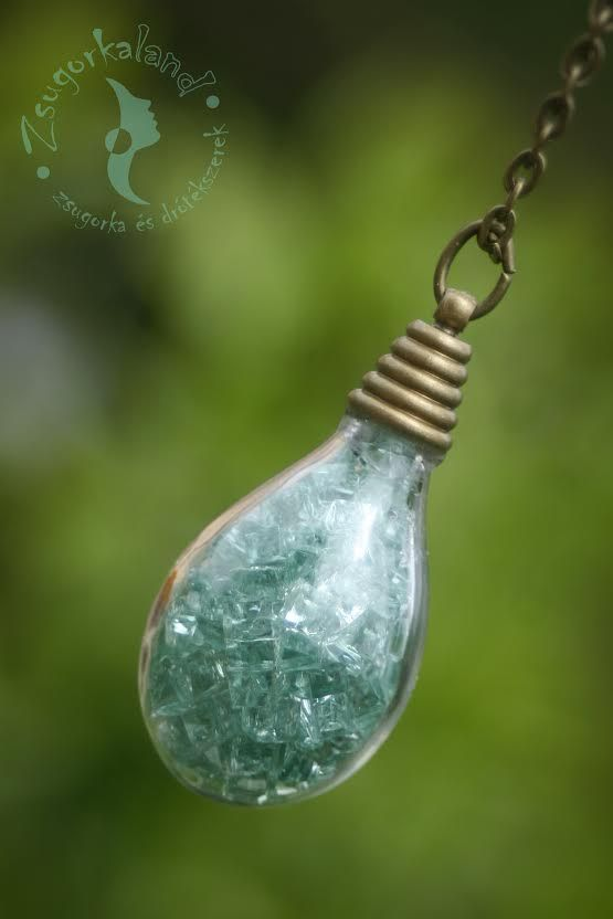 """""""Ice Queen"""" glass pendant filled with broken colored glass https://www.facebook.com/Zsugorkaland"""