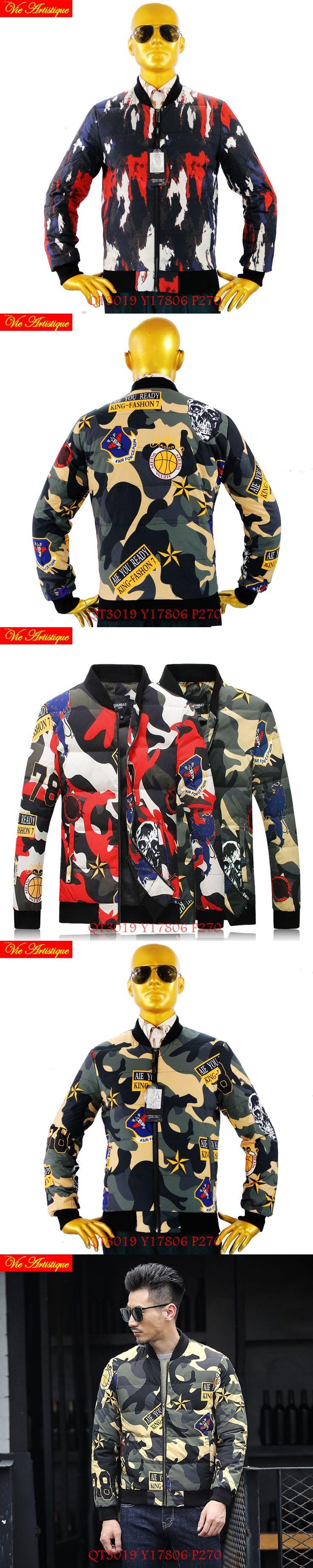 men's parkas homme winter leather coat and jacket light warm red green camouflage oversize 2017 winter new fashion parka men VA