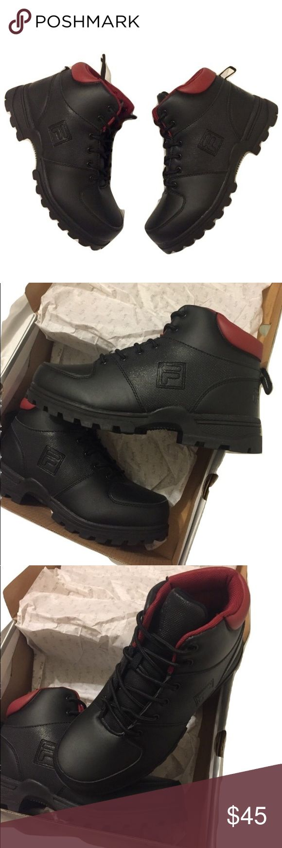 New FILA Boys Hiking Boots Ascender 2 size: 6 FILA Boys Hiking Boots  Style: Ascender 2 Size: 6 New in box.  Never even tried on Great as a gift for the holidays. Black with red trim Questions? Please ask prior to purchasing. Fila Shoes Boots
