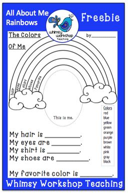 FREE download: All About Me Rainbows printable to celebrate differences and practice color words. Whimsy Workshop Teaching http://whimsyworkshop.blogspot.ca/