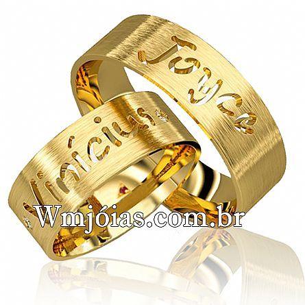 Alianças de casamento personalizada com nomes