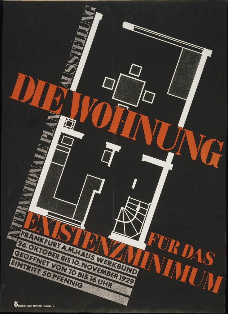In 1929 the first working conference of CIAM (Congrès International d'Architecture Moderne) was held in Frankfurt, focusing international attention on the city's ambitious housing program. This poster advertised an exhibition about attempts to define the minimum habitable dwelling that featured plans submitted by modernist delegates from many different countries, all drawn to the same scale. Ernst May's minimalist floor plan for houses on Frankfurt's Praunheim estate, which included the…