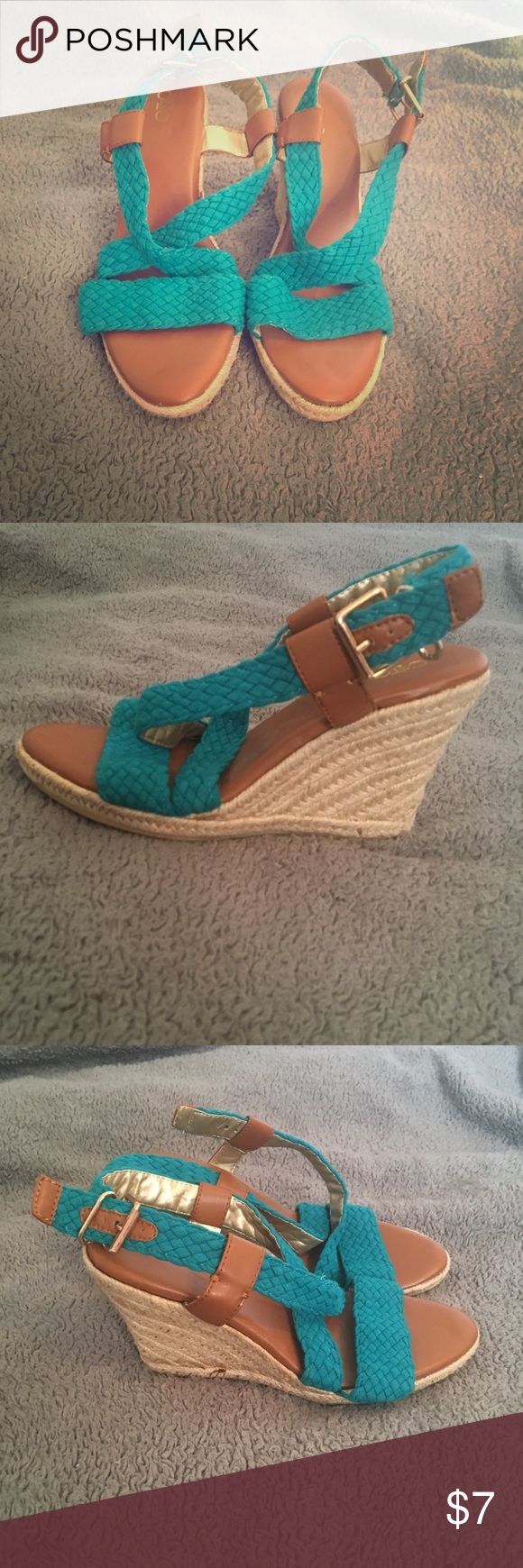 Turquoise Wedges Brand new. Never worn. Shoes Wedges