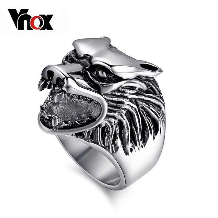 Vnox lobo cabeza anillos para hombre de acero inoxidable 316l punk rock anillos anillos animales de la joyería
