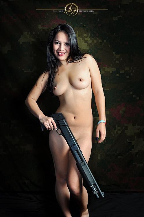 Cosplay girl with gun
