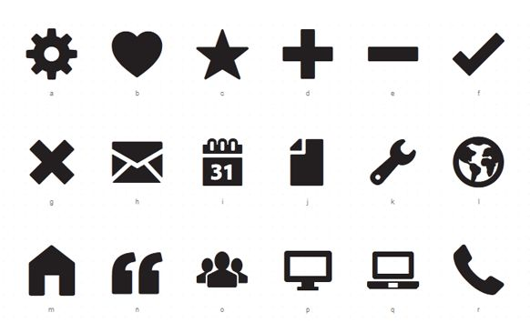 Free Simple Custom @font-face Icon Sets by ZURB