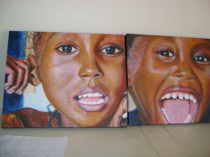 Afrikaanse kinderen -  Acryl op doek by Alise Kellens