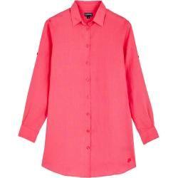 Damen Ready to Wear - Langes Solid Leinenhemd für Damen - Shirt Dress - Fragance - Rosa - Xs - Vileb