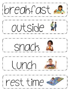 Printable Schedule Picture Cards for Preschool Classrooms. *I recommend taking pictures of the classroom students and adding them to all the labels in the room ≈ ≈ For more classroom print examples: http://pinterest.com/kinderooacademy/classroom-print-environment/